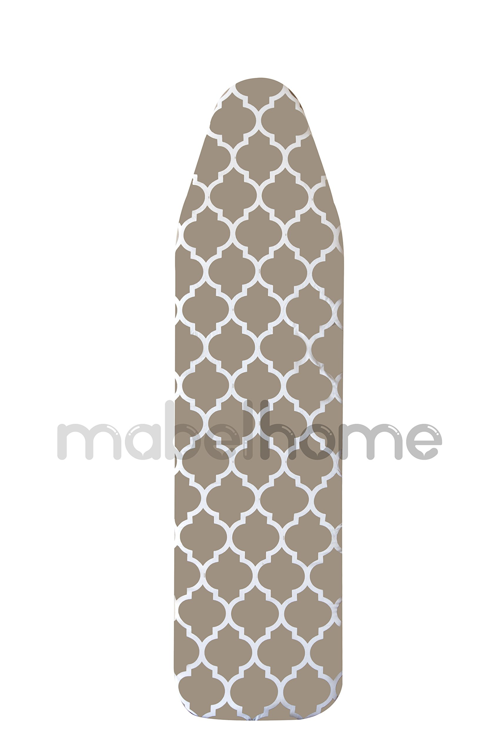 Mabel Home ironing Board Padded Cover, 100% Cotton, 54'' x 15'' - Light-Brown/White Patterned by Mabel Home