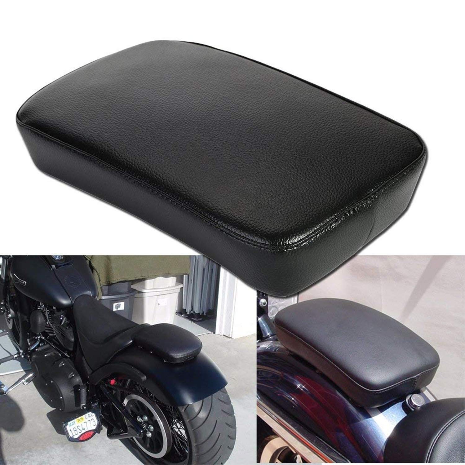 OSAN Leather Pillion Pad w/ 6 Suction Cup Rear Passenger Seat For Harley Custom Bikes