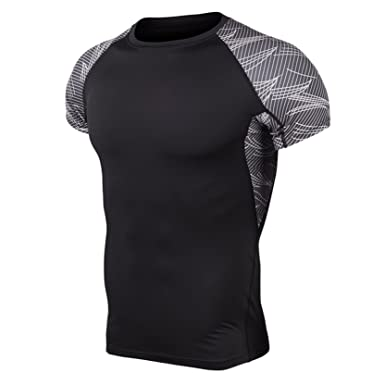 Men s Sports Short Sleeve Round Neck T-Shirts Tee Tops Running Training  Slimming Black 1 4d3800330
