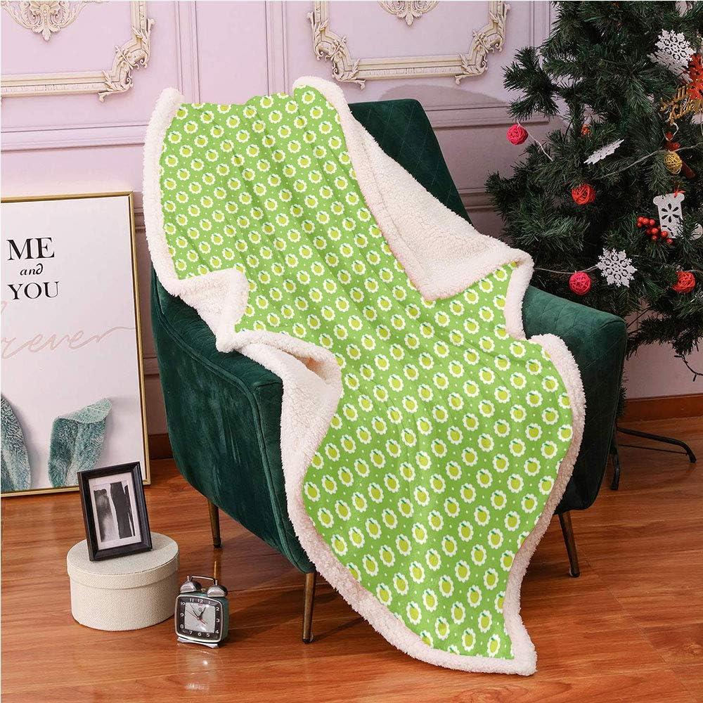 "SeptSonne Apple Green Plush Blanket,Fresh Fruit Granny Smith Illustration Light Thermal Blanket,Sherpa Fuzzy Blanket(40""X50"" inches,Yellow Green Fern Green Lime Green and White)"