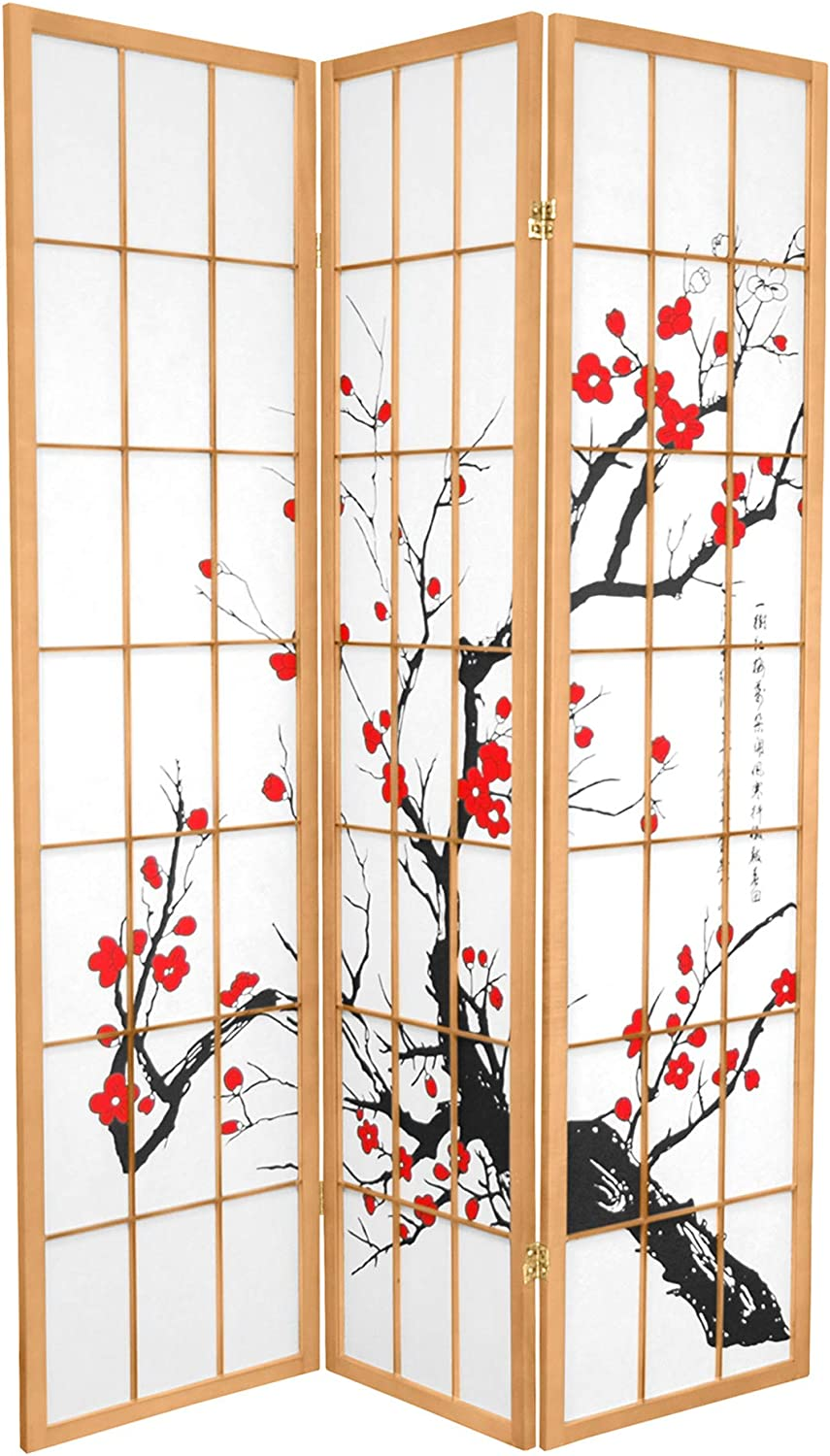Oriental Furniture 6 ft. Tall Flower Blossom Divider - Natural - 3 Panels