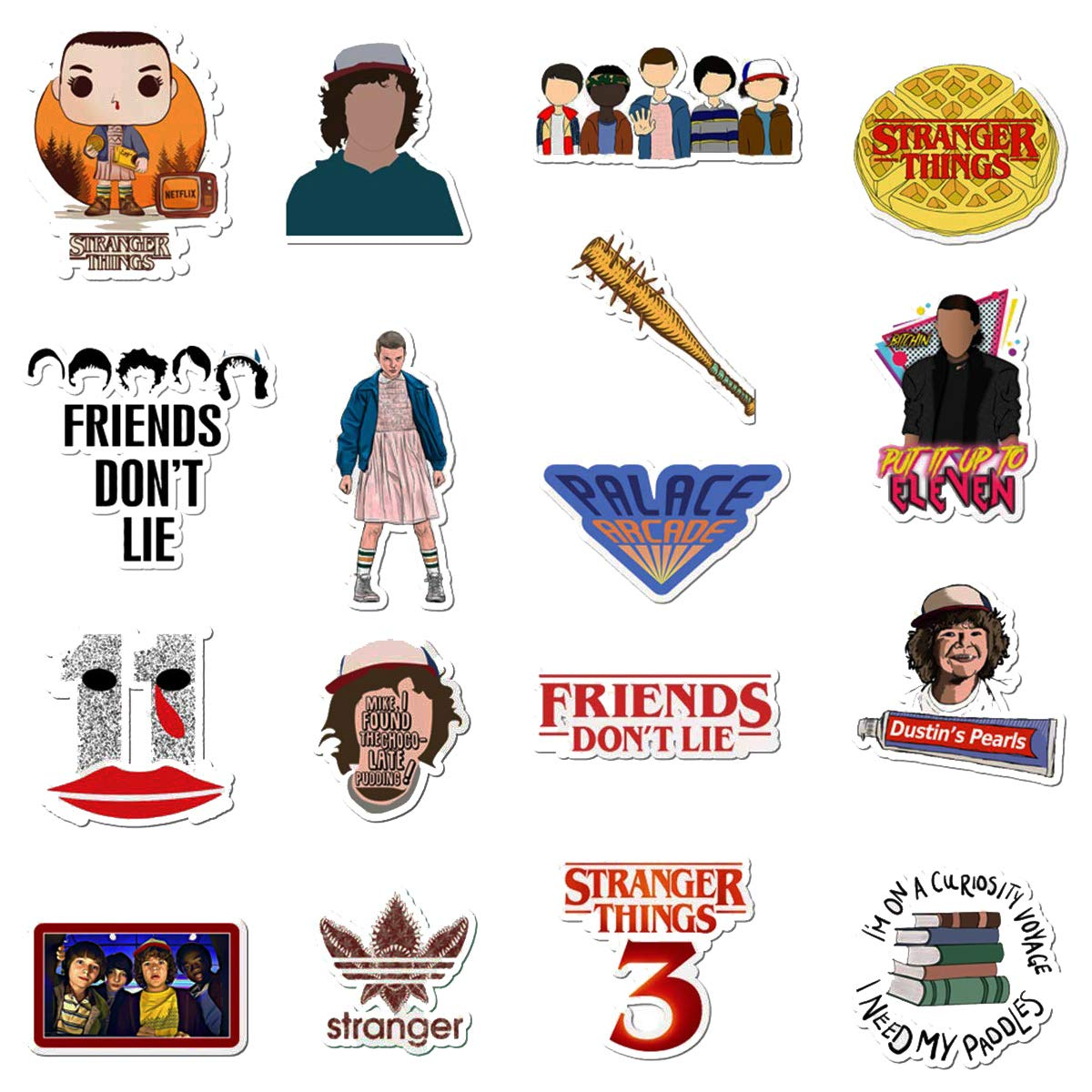 WOCOCO Stranger Things Stickers for Laptop, Waterproof Vinyl Stickers for Water Bottles, HydroFlask (50 Pack)