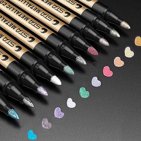 Metallic Marker Pens, ANYUKE 10 Farben Metallischen Stift für die Kartenherstellung, DIY Fotoalbum,Scrapbook Album ,Steinmale