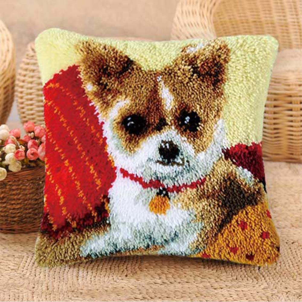 VECANCE Dog Latch Hook Kits DIY Throw Pillow Cover Rug Cute Puppy Pattern Printed Pet Pillowcase Embroidery Needlework Craft for Home Decoration BZ-164 16.9 X 16.9 inch