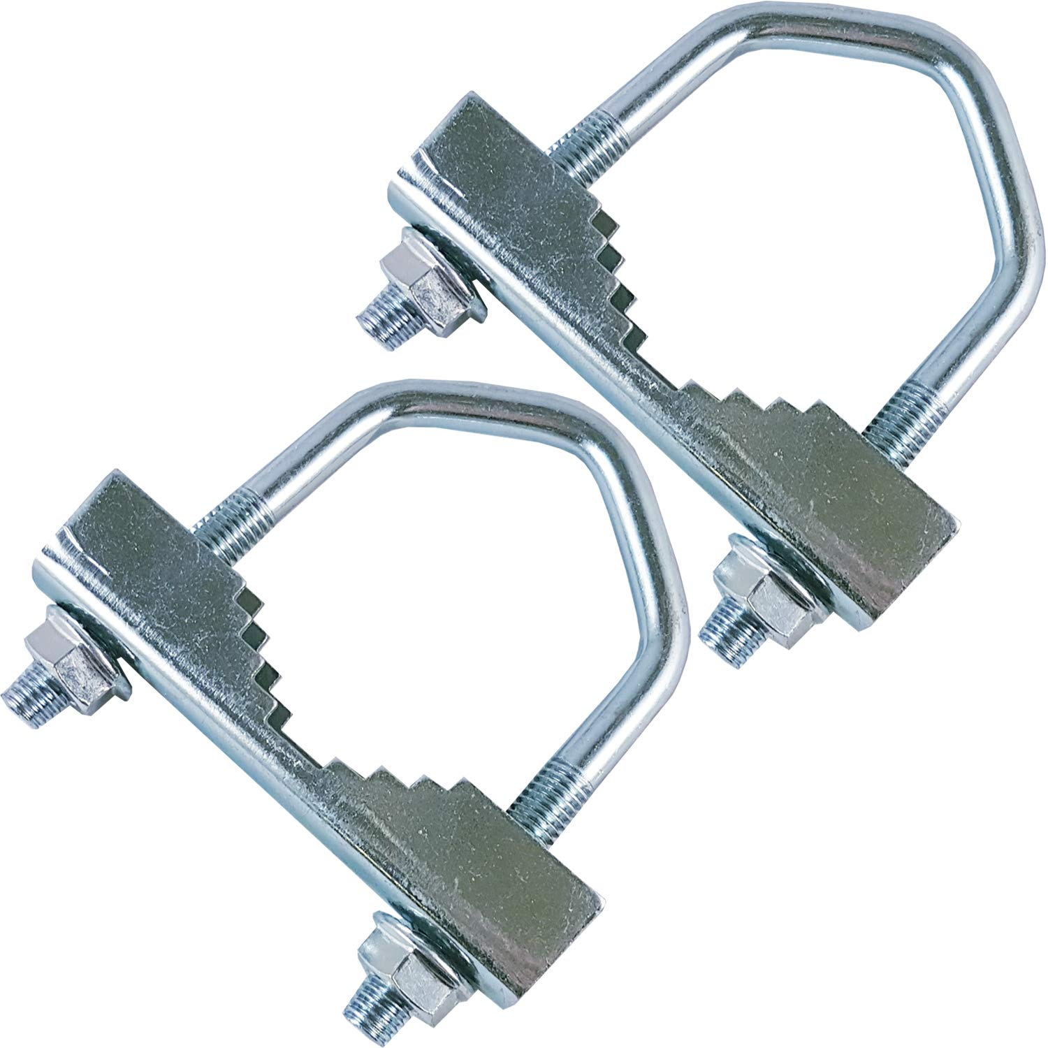 """2x Heavy Duty Jaw V-Bolts -up to 2"""" Aerial Pole/Mast- Steel Construction For Outdoor Use, U-Bolt Clamp, Satellite, Sat, Pipe, Bracket, Fixing, Mount, Wall, Roof"""