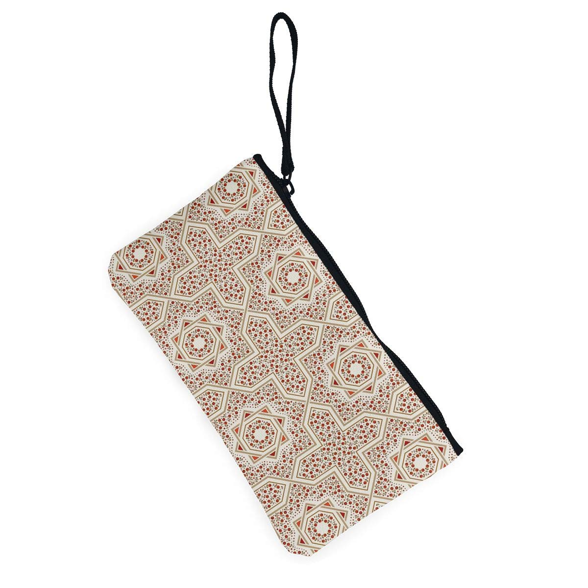Zipper Small Purse Wallets Cellphone Clutch Purse With Wrist Strap Patterned Floor Tile Pattern Womens Canvas Coin Wallet