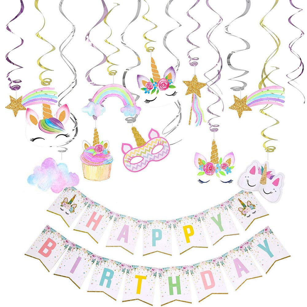 Unicorn Hanging Swirl Party Decorations 30PCS Happy Birthday Banner-Unicorn Party Favors Supplies for Girls Room Birthday Party Dessert Table