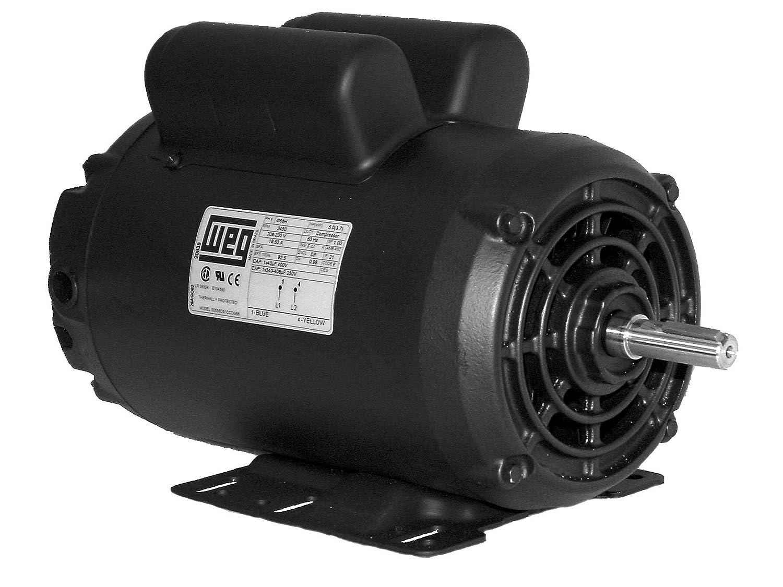 WEG 00718OS1CCD215T ODP Compressor Duty Definite Purpose Motor, 7.5 HP, 1-Phase, 1800 rpm, 208-230 V, 60 Hz, 215T Frame