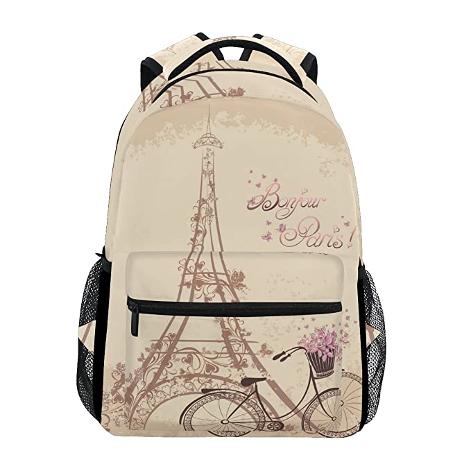 Amazon.com : GIOVANIOR Bonjour Paris Tower Eiffel And Bicycle Romantic Backpack School Bag Bookbag Hiking Travel Rucksack : Sports & Outdoors