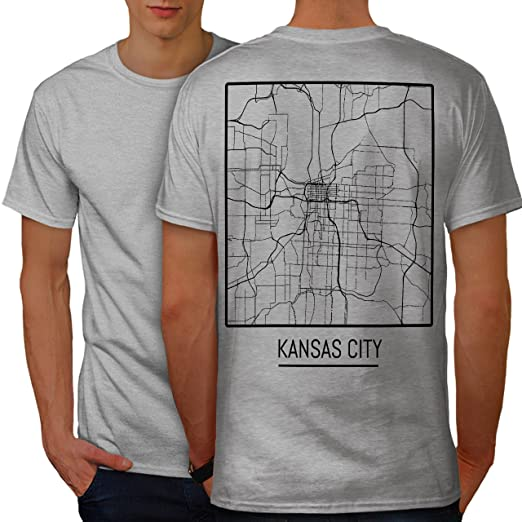 fc3a2abdcf2 Amazon.com  wellcoda Kansas City Map Fashion Mens T-Shirt