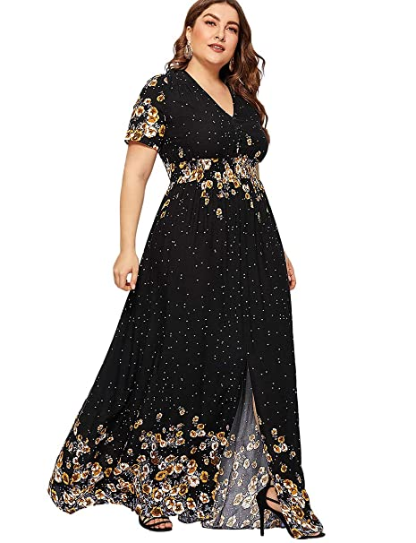Romwe Women\'s Plus Size Floral Print Buttons Short Sleeve Split Flowy Maxi  Dress