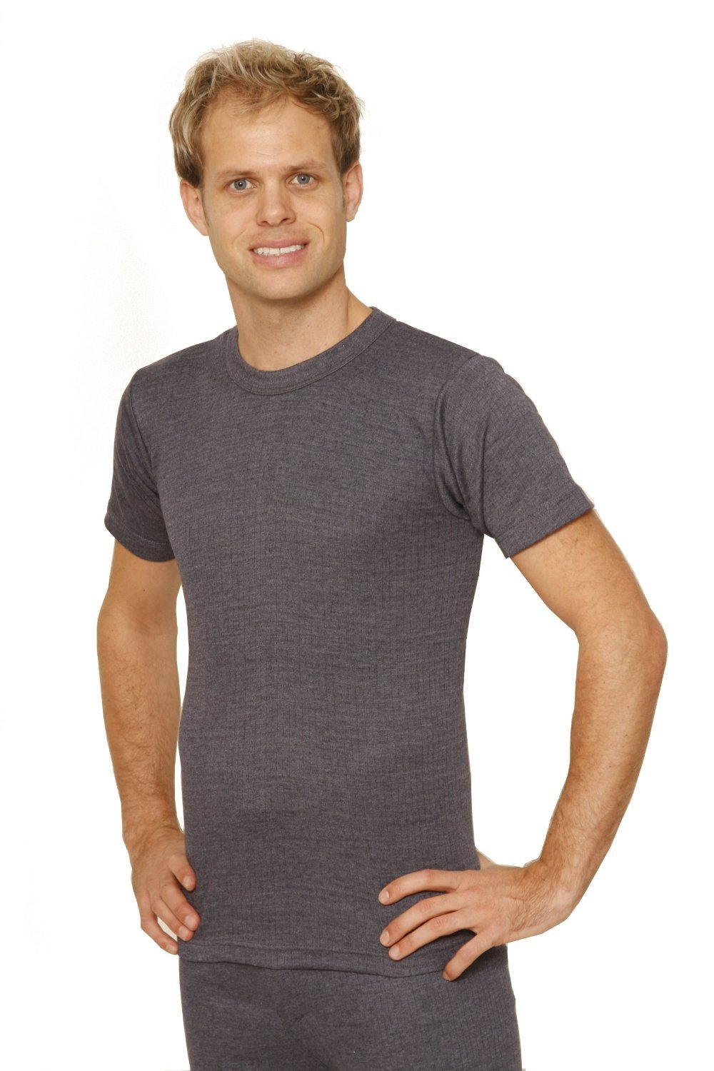 Octave Mens Thermal Underwear Short Sleeve T-Shirt/Vest/Top (4X-Large: Chest 56-58 Inches, Charcoal)