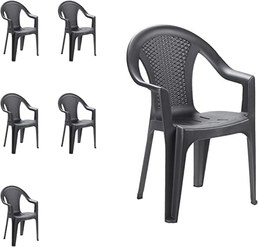Mojawo Set di 6 sedie impilabili da giardino, da balcone o da bar, impilabili, con effetto rattan. colore: antracite
