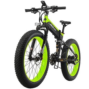 LANKELEISI - Bicicleta eléctrica para todo terreno (motor 48V10AH Ebike 27 Velocidades, nieve, MTB, plegable), Black-Green: Amazon.es: Deportes y aire libre