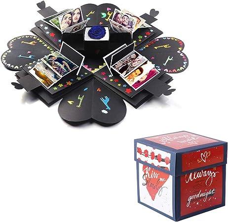 Lypumso Explosion Box Scrapbook Creative DIY Photo Album, Caja de Regalo Creative Explosion, Regalo romántico y Sorpresa para su Amante/mamá/Amigo/niños (con Pegatinas): Amazon.es: Hogar