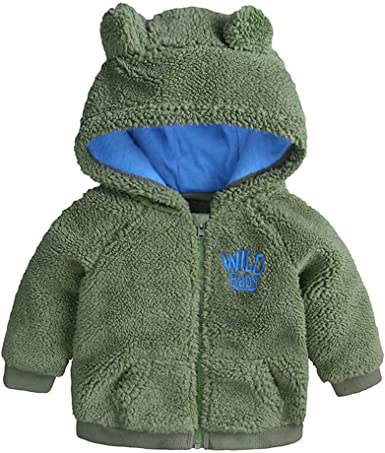 Infant Newborn Baby Clothes Little Bear Button Long Sleeves Baby Jacket Coats with Pocket