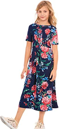TRULY ME, Big Girls' Short Sleeve Knotted Maxi Dress in Printed Knit, Size 7-16