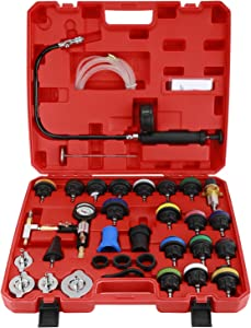 8MILELAKE 33pcs Universal Radiator Pressure Tester and Vacuum Type Cooling System Kit