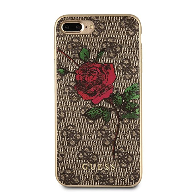 Guess iPhone 8 Plus & iPhone 7 Plus Case - by CG Mobile - Red Rose/Brown PU  Leather Pattern Hard Cell Phone Case |Easily Accessible Ports | Officially