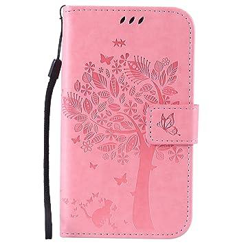 Qiaogle Teléfono Case - Funda de PU Cuero Billetera Clamshell Carcasa Cover para Samsung Galaxy Grand Neo i9060 / i9062 - KT03 / Pink Suerte Árbol de ...