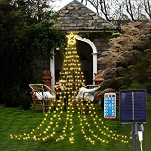 Solar String Light with Remote, DANLI 320 LED Twinkle Star Lights, IP44 Waterproof 9x12 FT Topper Lights, Waterfall Fairy Lights with 8 Modes for Indoor Outdoor Decor(Warm White)
