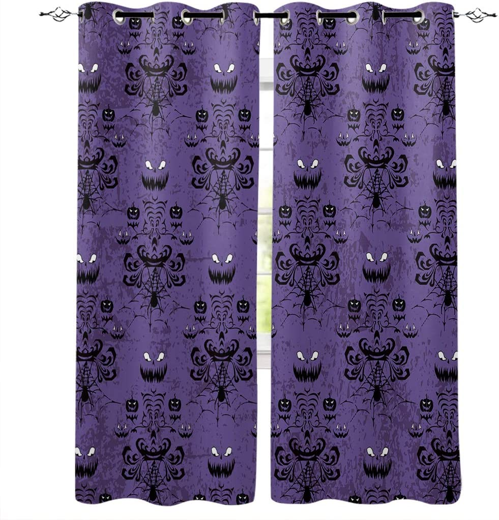 """Draperies & Curtains Panels for Bedroom Haunted Halloween Mansion - Grim Grinning Ghosts Window Curtains for Solding Glass Door - Set of 2 Panels, 80"""" W by 84"""" L"""