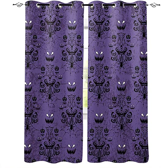 Libaoge Draperies Curtains Panels for Bedroom Haunted Halloween Mansion – Grim Grinning Ghosts Window Curtains for Solding Glass Door – Set of 2 Panels, 104 W by 96 L