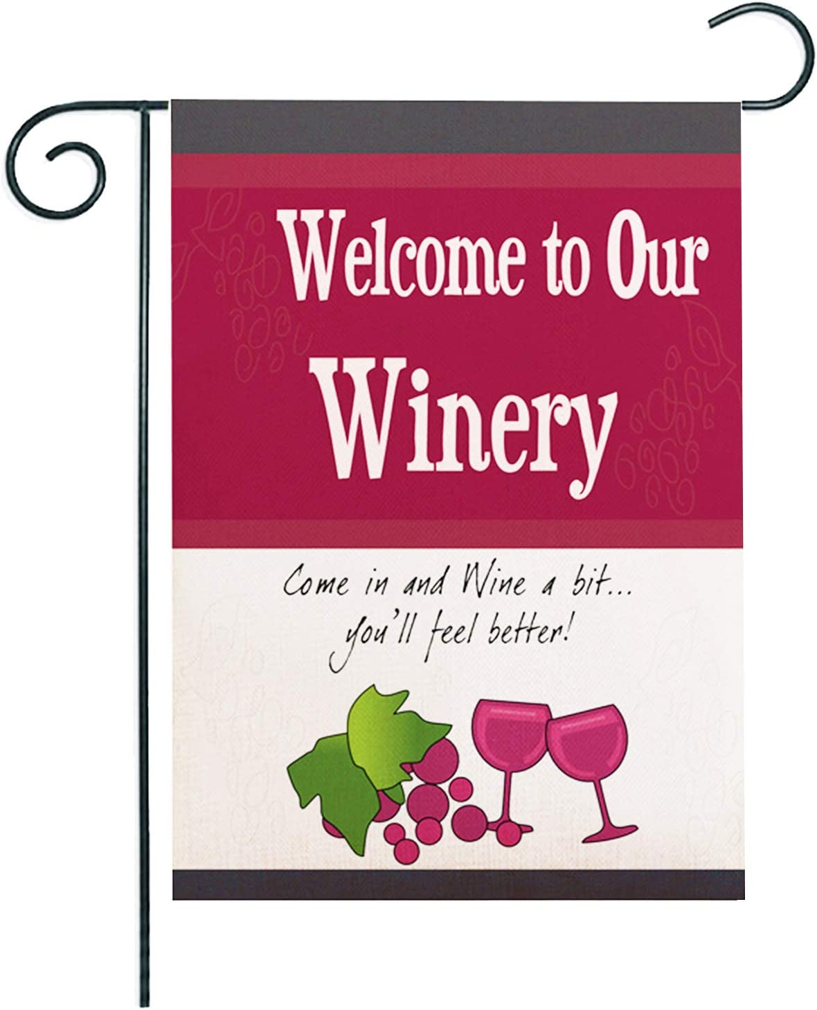 ZUEXT Welcome to Our Winery Garden Flag 12.5x18 Inch, Burlap Vertical Double Sided Yard Flags with Painted Bunch Vineyard Red Wine, Seasonal Decorative Spring House Yard Sign, Door Hanger Wall Decor