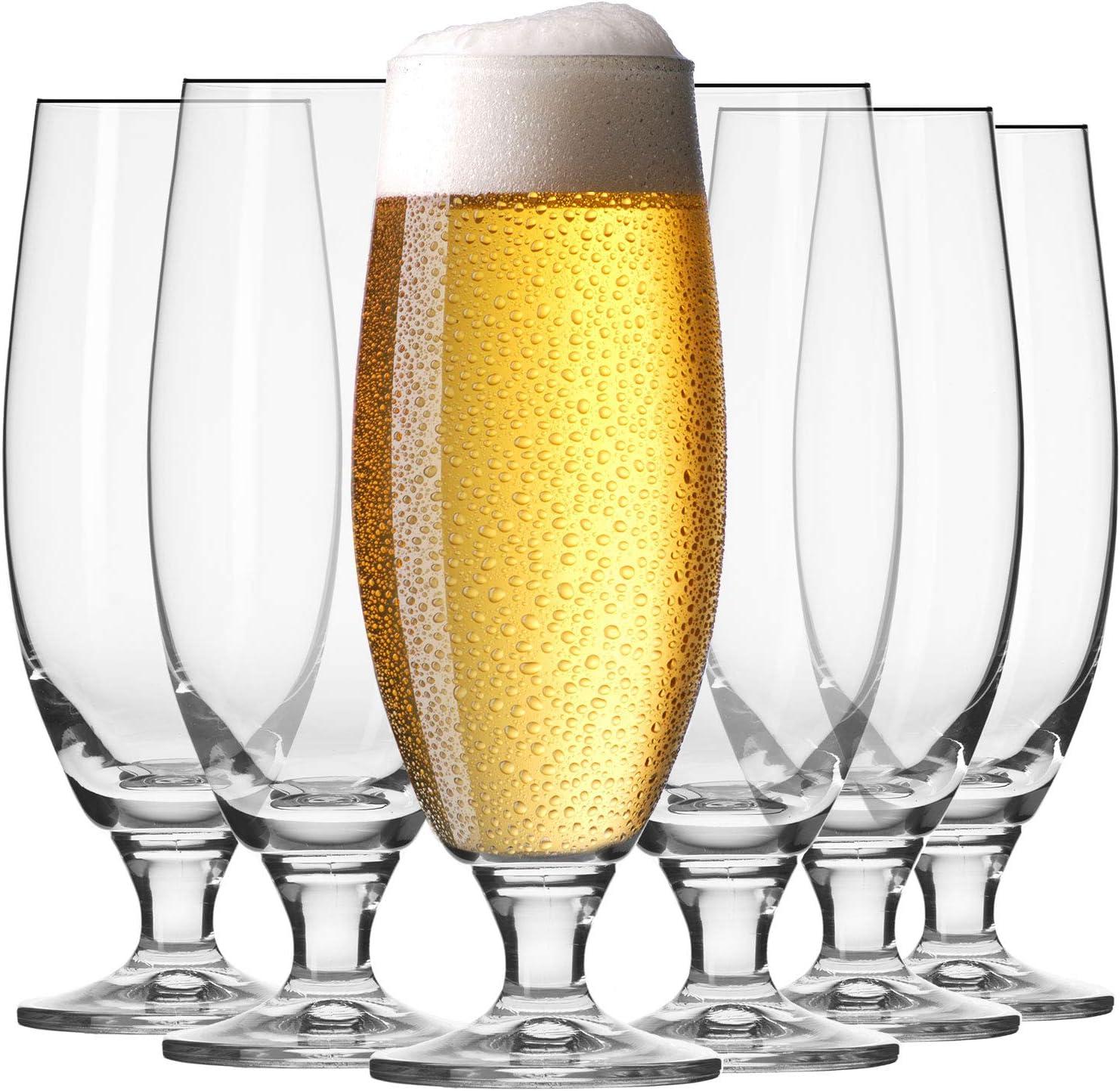Krosno Vasos Copas de Cerveza Blanca | Conjunto 6 Piezas | 500 ML | Elite Collection Uso en Casa, Restaurante y en Fiestas | Apto para Microondas y Lavavajillas