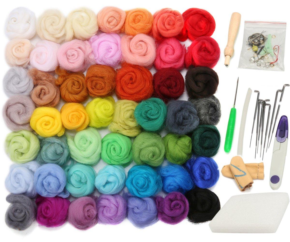 Jeteven 50 Colors Felting Wool Merino Fibre Roving Wool for Needle Felting with 1 Set Needle Felting Starter Kit Wool Felt Tool