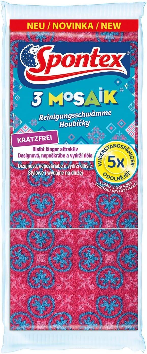 Spontex Mosaik Lot de 3 /éponges de nettoyage anti-rayures Rose//turquoise