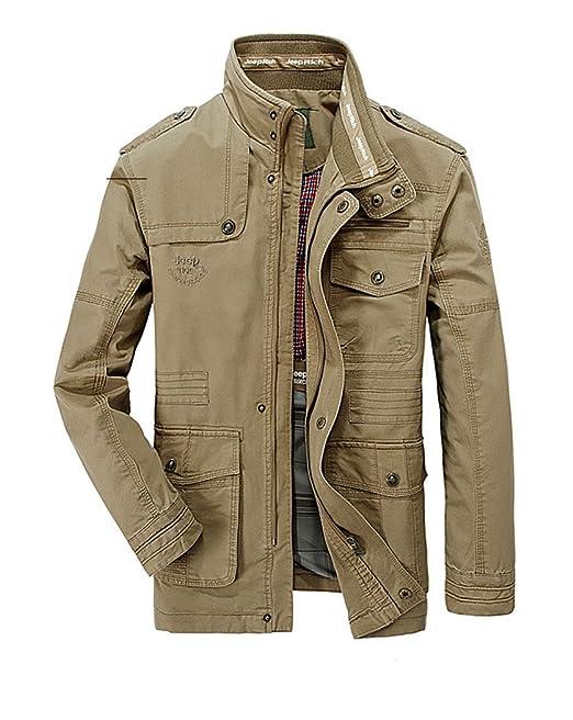 SZYYDS, giacca primaverile, da uomo, in cotone, con colletto