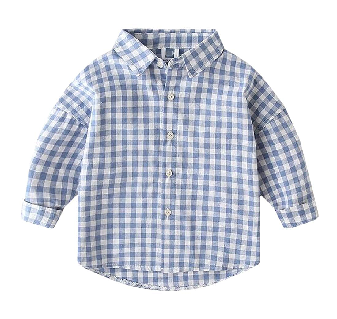 Macondoo Boys Classic Fit Check Buffalo Cotton Long-Sleeve Button Down Shirts