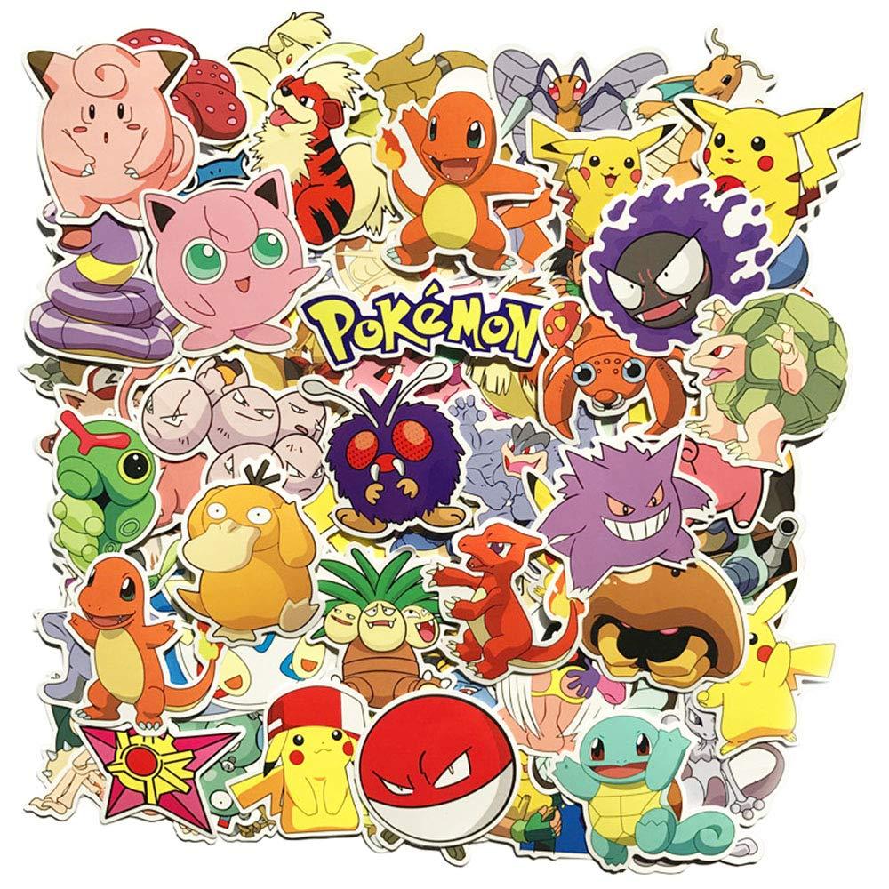 81 Pz Pack di Adesivi Pokemon, Adesivi Unici Cool Adesivi Kid Teens Notebook Chitarra Skateboard Viaggi Impermeabile Sanmatic