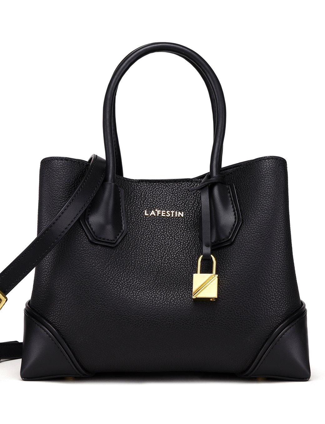 LA'FESTIN Women's Designer Leather Kelly Bags with Cross-body Shoulder Strap Black Purses and Handbags