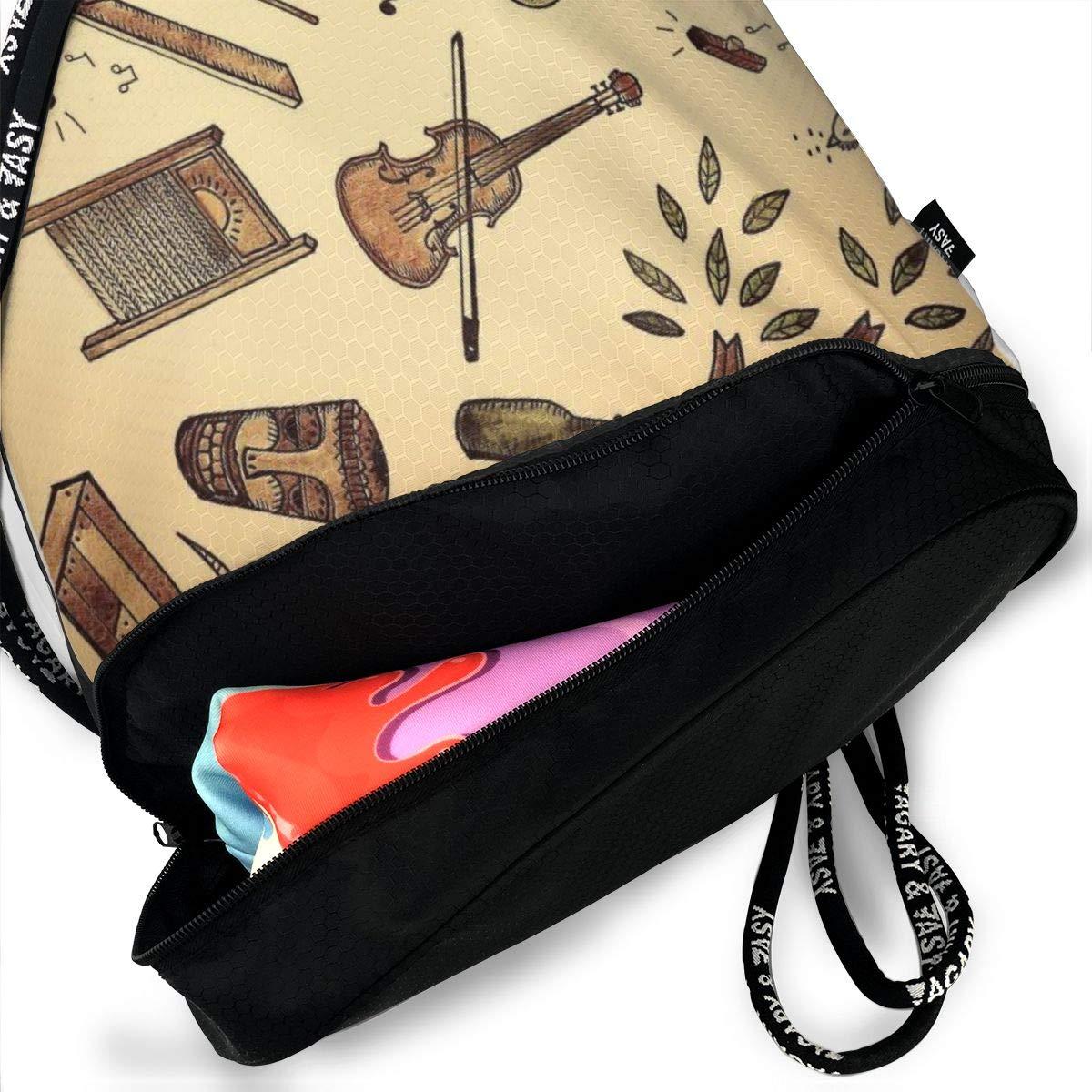 Women Old Time Music Printed Sackpack Sport Cinch Pack Backpack for Men Kji Gym Sack Drawstring Bag