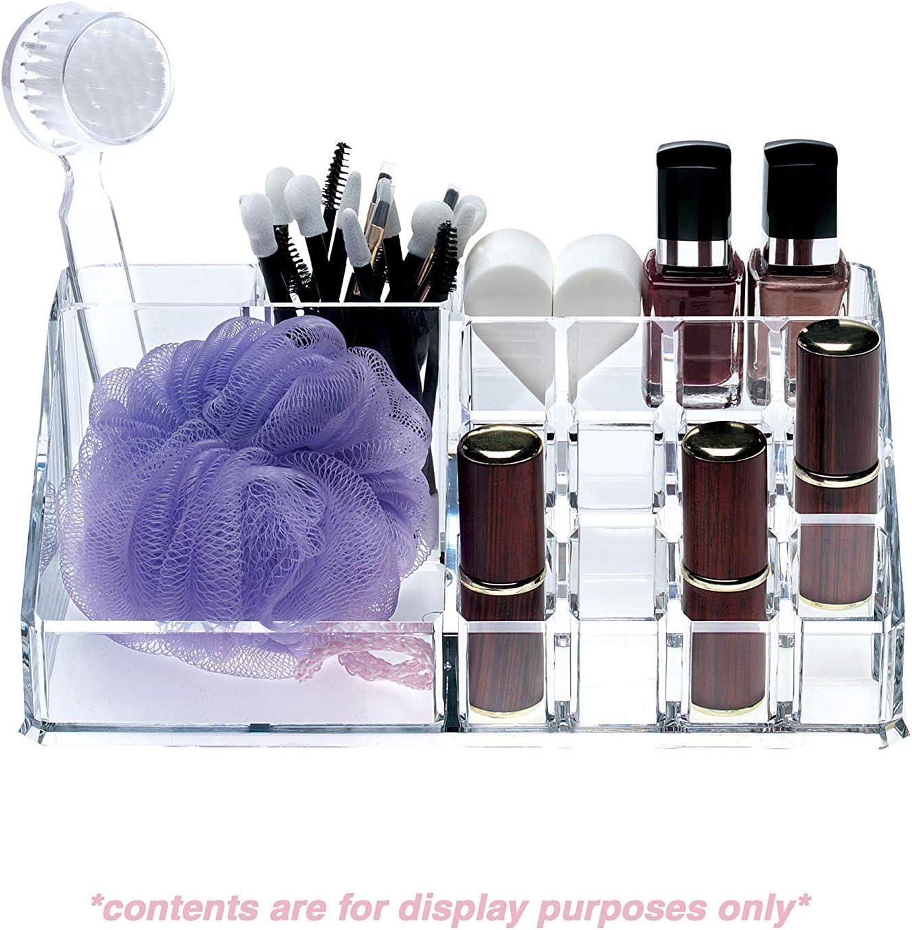Acrylique Organisateur Pr/ésentoir Rouge /à L/èvres Crystal Clear pour Pinceau Vernis /à Ongle et Bijoux pour Femme Fille Bo/îte de Rangement Maquillage Cosm/étique Transparente