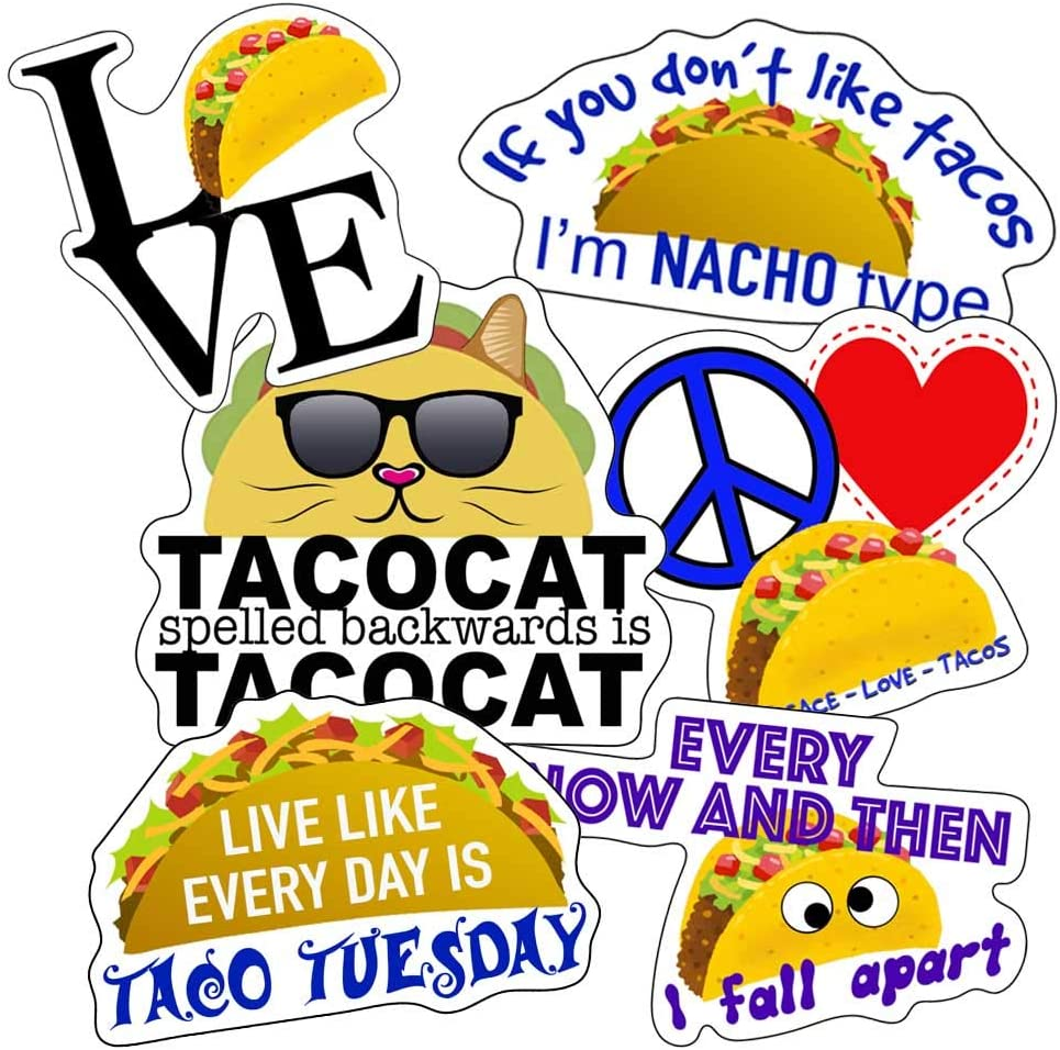 Taco Stickers, Perfect for Water Bottles, Laptops, Car Decals, Kids, Large Waterproof Made of 100% Vinyl