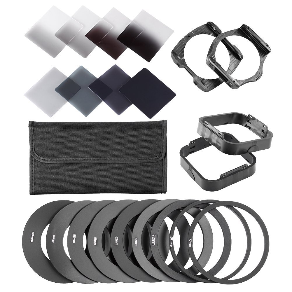 Neewer Complete ND Filter Kit for Cokin P Series: (8)ND Filters(Full ND2 ND4 ND8 ND16; Graduated G.ND2 G.ND4 G.N8 G.ND16)+(9)Adapter Rings+(2)Square Filter Holder+(2)Lens Hood+(1)Filter Pouch by Neewer