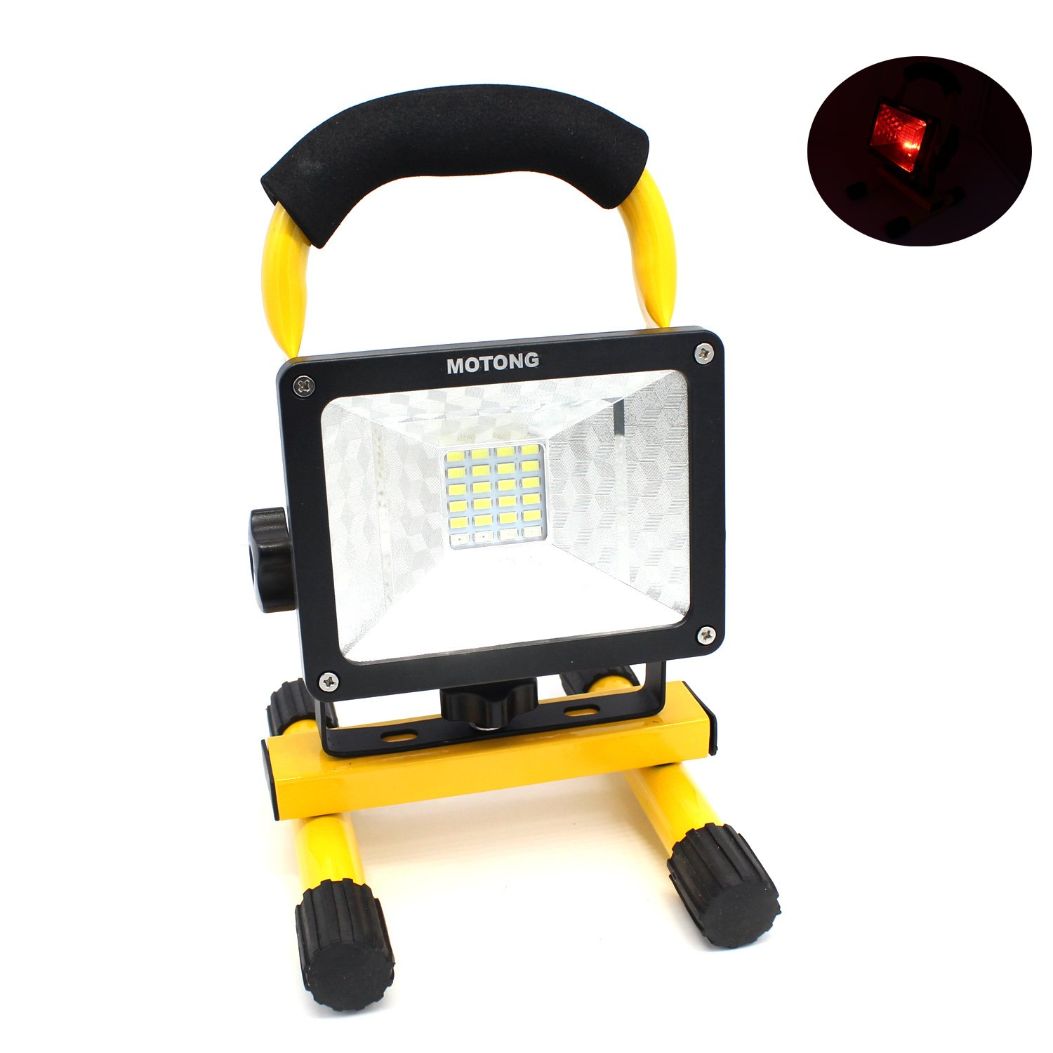 MOTONG Portable Rechargeable LED Flood Spot Light For Outdoor Camping Lamp,Expressway emergency,garden work,powered by 3PCS 18650 3.7V Rechargeable Lithium Battery. (Yellow)