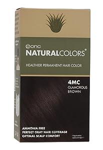 ONC NATURALCOLORS (4MC Glamorous Brown) 4 fl. oz. (120 mL) Healthier Permanent Hair Dye with Certified Organic Ingredients, Ammonia Free, Vegan Friendly, 100% Gray Coverage