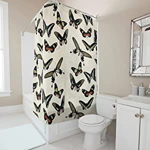 Vicohreinx Vintage Butterfly Shower Curtain Machine Washable Modern Decor Soft Bath Curtain with Holes and Hooks for Shower Stall White 72x79inch