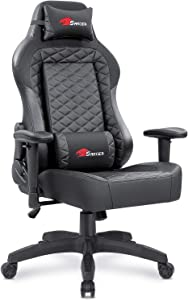 Furniwell Gaming Chair Computer Chair Racing Office Chair Desk Swivel Task Chair PC High Back Adjustable Leather Chair with Headrest and Lumbar Support(Black)