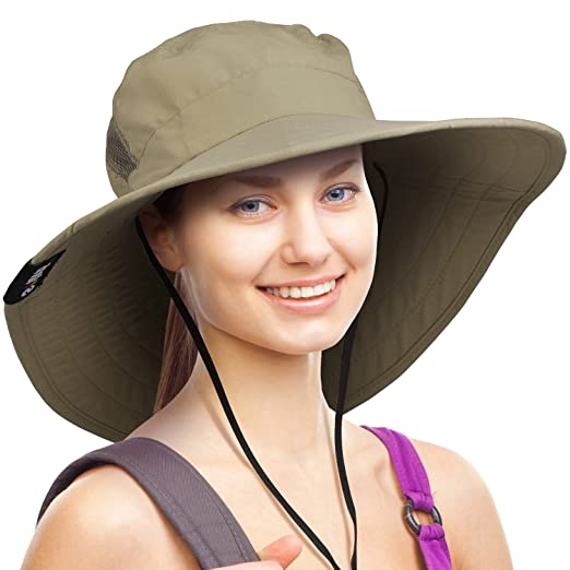 7a9e5a4f927 Wide Brim Sun Hat Outdoor UV Protection Safari Cap for Women Olive ...