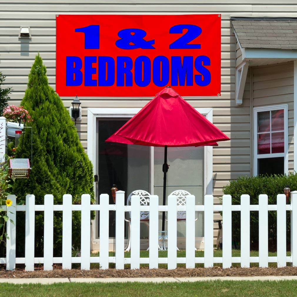 One Banner 44inx110in Multiple Sizes Available 8 Grommets Vinyl Banner Sign 1 and 2 Bedrooms Red Blue Business Marketing Advertising Red