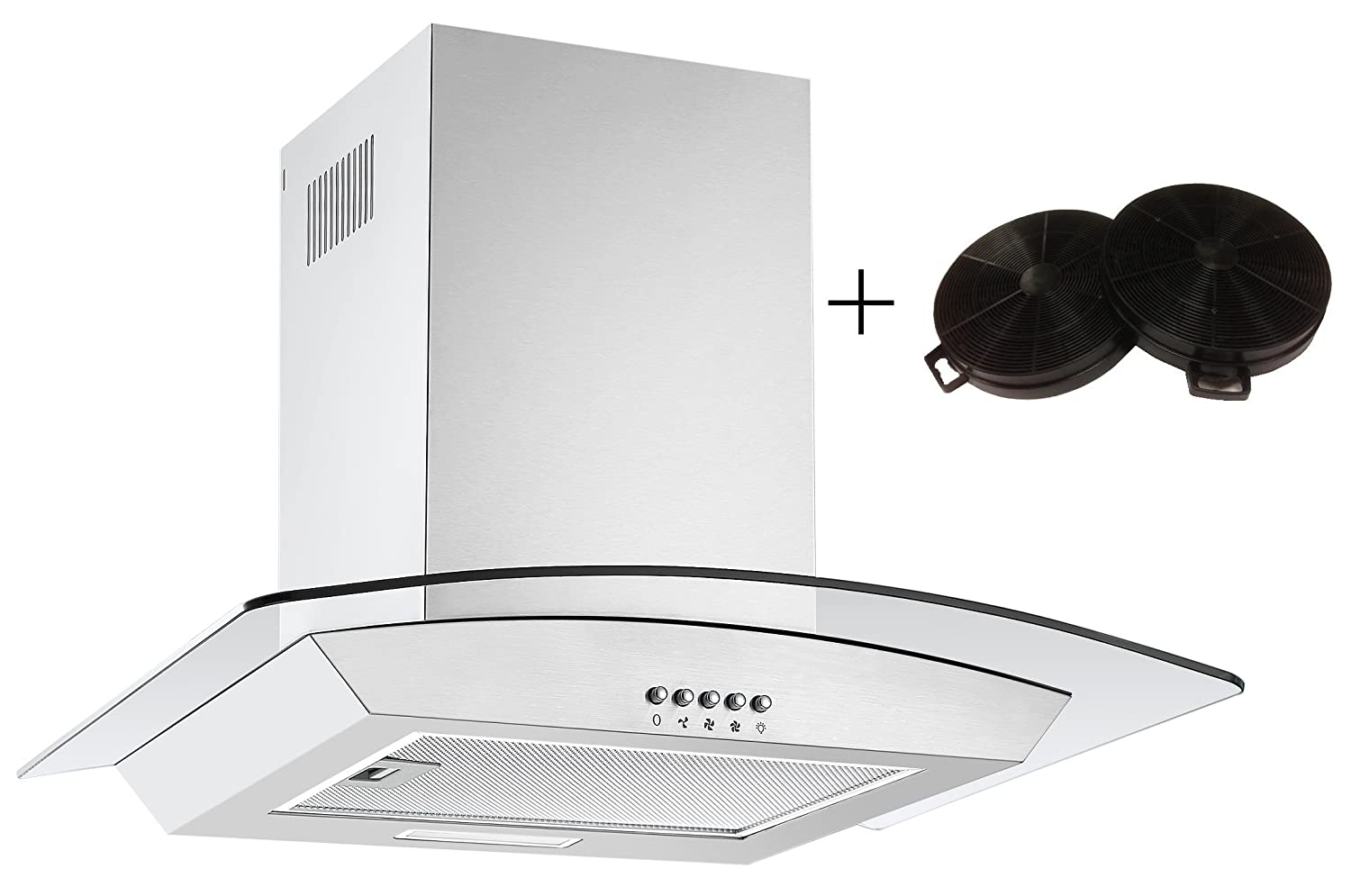 Cookology CGL600SS CF100 Designer Extractor | 60cm Curved Glass Chimney Cooker Hood in Stainless Steel & Filters