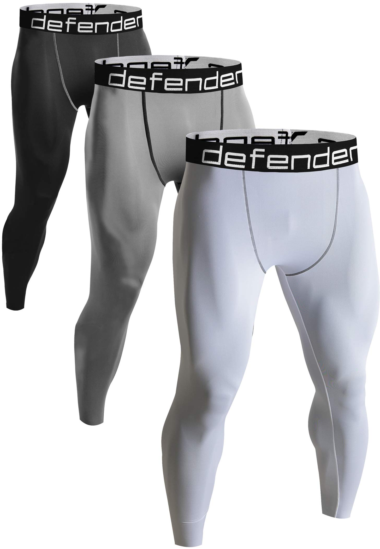 Defender Men's 3Pack Sports Compression Pants Under Jerseys Tights Shorts Fits Golf BSGYWH_2XL by Defender
