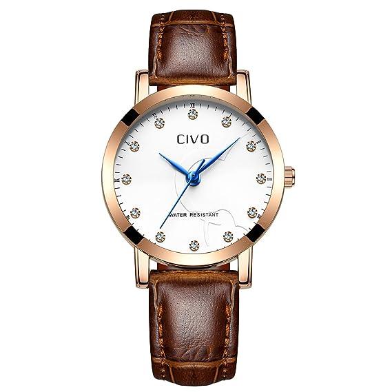 CIVO Reloj de Cuero para Mujeres Impermeable Reloj Clásico Moda Diseñador Retro Relojes de Pulsera Caballeros