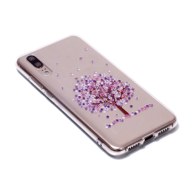 Sycode pour Huawei P20 Silicone Coque,pour Huawei P20 Housse Etui,Beau Petit Cerisier Fleur Transparente TPU Cas Cover pour Huawei P20-Petit Cerisier Fleur