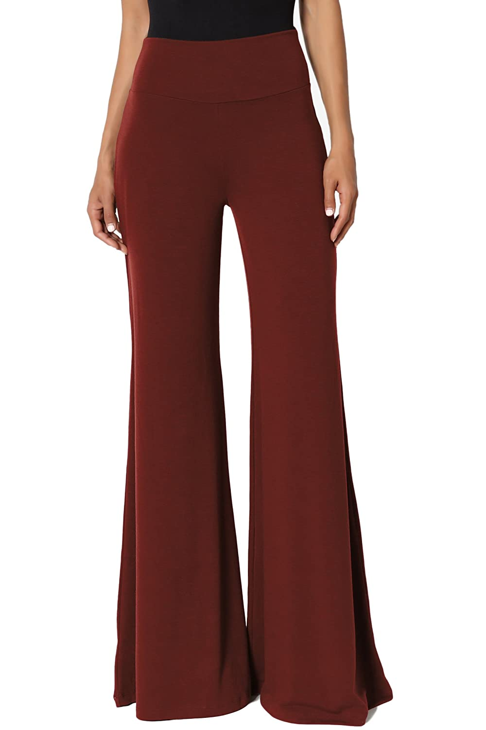 TheMogan Womens 33.5 Comfy Soft High Waist Wide Flare Leg Palazzo Lounge Pants